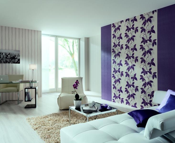 Интерьер зала с комбинированными обоями фото